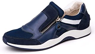 QinMei Zhou Athletic Shoes for Men Skate Sneakers Zippers Two Sides Breathable Mesh Upper Outdoor Running Flat Anti-Skid Genuine Leather (Color : Blue, Size : 8 UK)