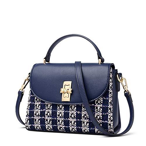 Leder-Umhängetasche für Damen, echtes Leder, Tweed-Stoff, Damen-Messenger-Taschen mit verstellbarem Schultergurt, kleine Handtaschen für Damen, Mini-Henkeltaschen und Handtaschen (blau)
