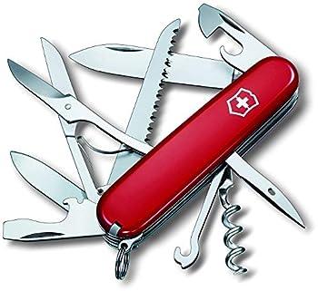 Victorinox Huntsman Couteau de Poche Suisse, Léger, Multitool, 15 Fonctions, Tire Bouchon, Grand Lame, Ouvre Boite, Rouge