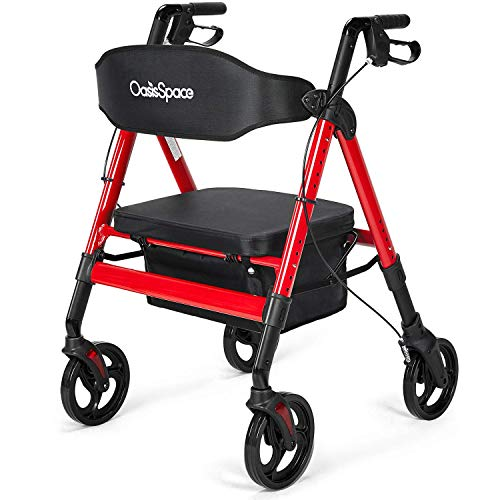 OasisSpace Heavy Duty Rollator Walker – Bariatric Rollator Walker with Large Seat for Seniors Support Up 450 lbs (Red)