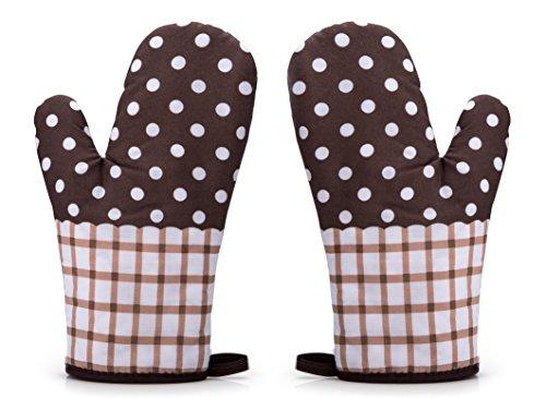 Rusty Bob - Ofenhandschuhe zum Backen | Backofenhandschuh aus Baumwolle | Hitzebeständig | in vielen lustigen Designs | Koch und Topflappen (Braun karriert gepunktet - 2er Set)
