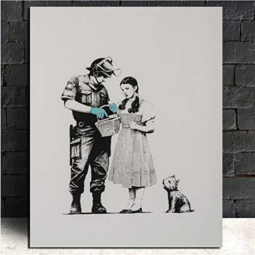 DLFALG Banksy Police Search Art Wallpaper Leinwand Malerei Druck Wohnzimmer Home Decoration Moderne Wandkunst Malerei Poster Bild- 70x90cm ungerahmt