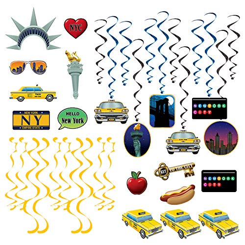 Beistle New York Party Favors Bundle | Centerpiece, Whirls, Photo Fun Signs, Dizzy Danglers | Themed Kids Birthday Party, American Inspired Event