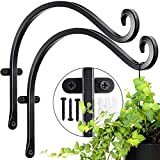 Hanging Plant Bracket for Plant Hangers Outdoor (2 Pieces - 12 inches) More Stable and Sturdy Black Plant Hooks