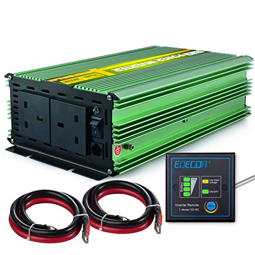 EDECOA Power Inverter 1500W Pure Sine Wave DC 12V to 240V AC with Multifunction...