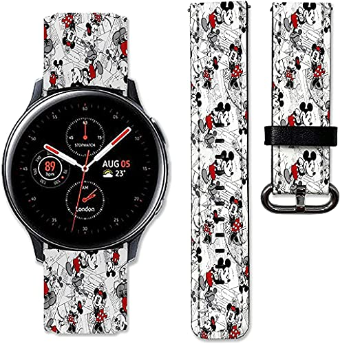 BGBA Cartoon Mouse band compatible with Samsung Galaxy Watch 3 Active 2 40mm 41mm 42mm 45mm 46mm Gear S3 S2 and other watches 20and 22mm wristband straps leather bands 11 (20mm) Multicolor