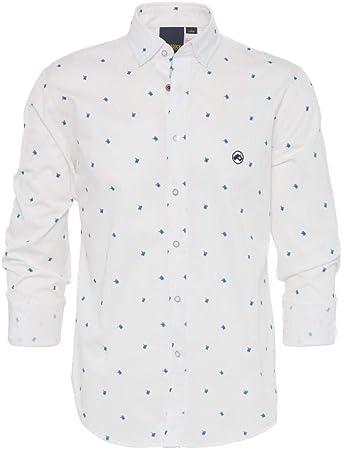 ALTONADOCK Camisa Blanca con Estampado para Hombre: Amazon.es ...