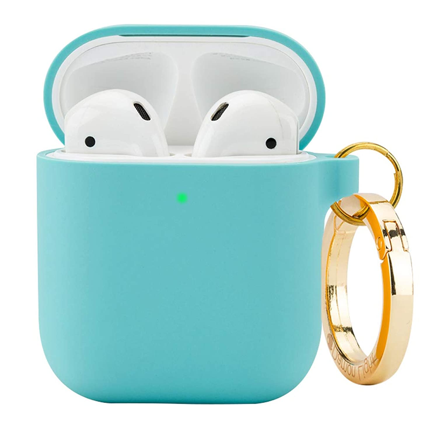 DamonLight Premium Silicone Airpods Case with Carabiner [Front LED Visible][with no Hinge] Full Protective Cover Skin Compatible with Apple Airpods 1&2 (Ice Blue)