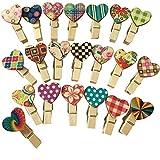 100 Pinzas de Madera en Forma de Corazón Decoraciones Mini Clavijas de Madera Mini Carpeta Fotos de Madera Mini Pinzas de Madera Multicolor para Fotos de Bricolaje Regalo de Boda Decoración Artesanal