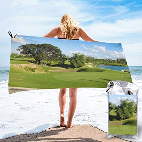 "HIUTORBF Golf Courses in Ahmedabad and Vadodara Quick Dry Towel Adults with Zipper Bag for Sunbathing Best Beach Towels for Travel Sand Proof 31.5""X63"""