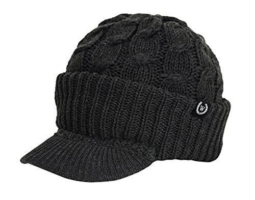 Wonderful Fashion Cable Knitted Hat With Visor Bill Winter Warm Hat For Women (Charcoal)