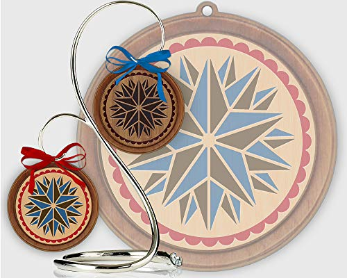 Red Tail Crafters Triple Star 3in/4in Hardwood Ornament PA Dutch Laser-Engraved Hex Sign