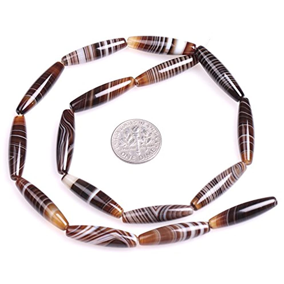 JOE FOREMAN 6x26mm Botswana Onyx Sardonyx Agate Semi Precious Gemstone Oval Olives Shape Loose Beads for Jewelry Making DIY Handmade Craft Supplies 15