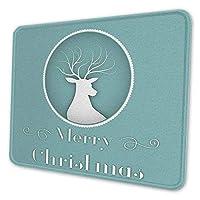 ゲーミングマウスパッド - メリークリスマストナカイ動物の緑のパターンを引用します マウスパッド おしゃれ ゲームおよびオフィス用/防水/洗える/滑り止め/ファッショナブルで丈夫 25x30cm