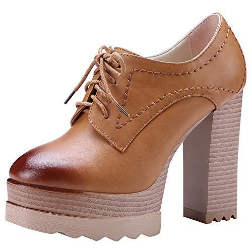 Jamron Women Vintage High Platform Block Heel Court Shoes Elegant Derby Lace-ups Brown SN020119 UK4