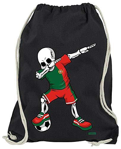 HARIZ Turnbeutel Fussball Dab Skelett Portugal Trikot Mannschaft Inkl. Geschenk Karte Schwarz One Size