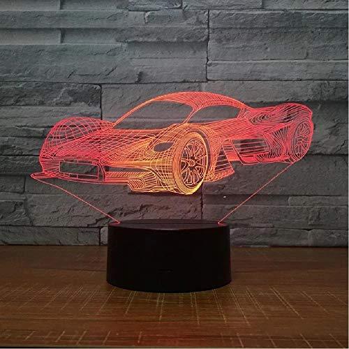 Led Cool Sports Car Shape 3D Night Light Usb Touch Button Lámpara de mesa de coche 7 colores que cambian Atmósfera Luminaria Regalos Decoración