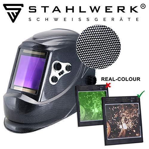 STAHLWERK ST-950XC Vollautomatik Schweißhelm, Optische Klasse: 1/1/1/1, extra großes Sichtfeld, 7 Jahre GARANTIE auf FILTER, inkl 5 Ersatzscheiben & Tasche