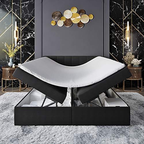 Innocent S4 - Cama con somier con canapé (180 x 200 cm, poliuretano, 3D Air de 6 cm, colchón de muelles Bonell, grado de dureza H2, cama de boxeo para hoteles, HB01