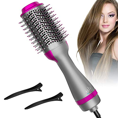 Hair Dryer Brush, Hot Air Brush One Step Hair Dryer & Volumizer 3 in 1 Brush Blow Dryer Styler for Rotating Straightening, Curling, Salon Negative Ion Ceramic Blow Dryer Brush…