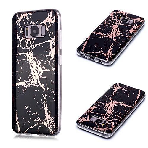 Nadoli Galvanisieren Marmor Handyhülle für Samsung Galaxy S8 Plus,Weich Silikon Marble Hülle Schlank Bumper Handytasche Flexible Schutzhülle Back Cover,Schwarz Gold
