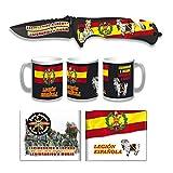 Tiendas LGP Albainox - 39219 - Set Navaja ALBAINOX Legión Española -3D, Taza Diseño 3D Legión, Cartera Diseño 3D Legión Española, Ideal para Caza, Pesca, Camping, Supervivencia y Bushcraft