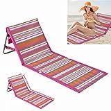 Silla plegable portátil Beach Mat Lounge, sillones reclinables con cubierta de toalla de playa, respaldo reclinable ajustable con bolsillo grande con cremallera, para viajes de niños y adultos
