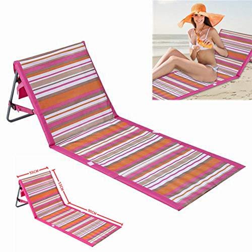 Silla plegable portátil Beach Mat Lounge, sillones reclinables con cubierta de toalla...