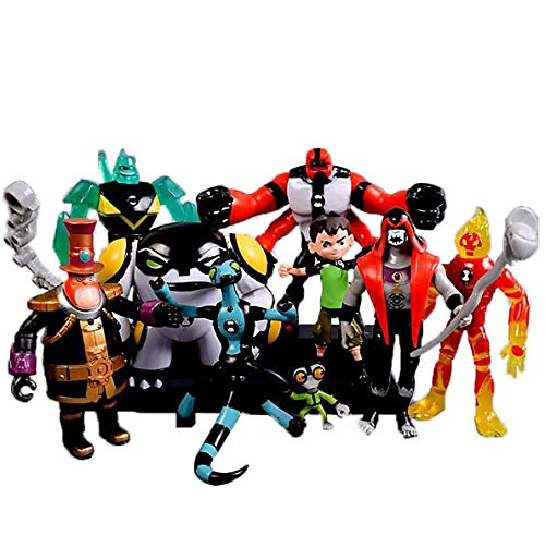 Ben 10 5'' Toys , Ben 10 Action Figures(Ben,Grey Matter,Heatblast,Diamondhead,XLR8,Four Arms,Hex,Cannonbolt,Steam Smythe )(9pcs)