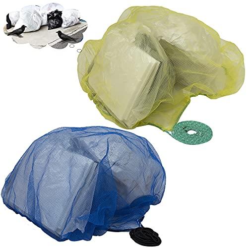 ゴミネット 防鳥ネット ゴミ置き場 ゴミあらし 散乱防止 カラス対策1.2x1.2m 細かい網目4mm おもりロープ付き 45Lゴミ袋 約1〜2個用  カラスよけ  犬 猫 獣よけ 除け Taibest(イエロー・ブルー)