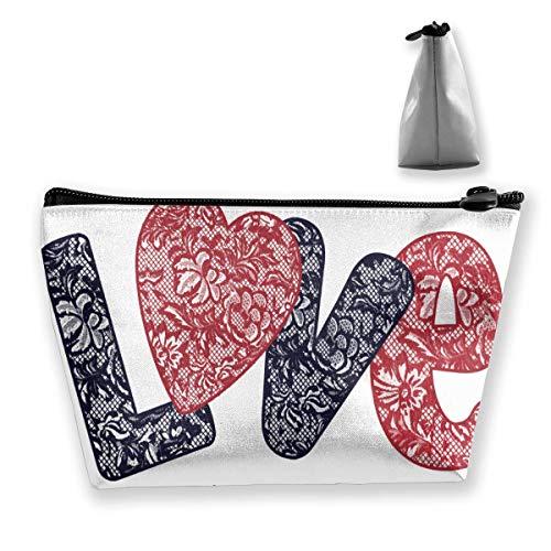 Bolsas de Almacenamiento de cosméticos Bolsas de Almacenamiento de joyería de Moda Monedero Bolsa de Almacenamiento Trapezoidal para Mujeres Gráfico de Eslogan de Amor para Camiseta Personalizada