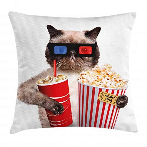 ABAKUHAUS Cine Funda para Almohada, Gato con Palomitas de Maíz y Bebida Mirando una Película Gafas Cine Diversión, con Estampas Digitales Personalizadas Lavable, 40 x 40 cm, Multicolor