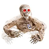 Halloween Haunters Animated Skeleton Mummy with Moving Arms Groundbreaker Graveyard Prop Decoration - 2/3 Life-Size, Speaks Talks, Flashing Red LED Eyes - Haunted House Tombstone Grave Crawl, Entryway