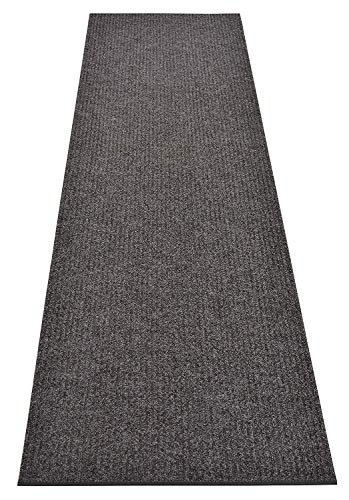 Tough Collection Custom Size Roll Runner Grey 27 in or 36 in Wide x Your Length Choice Slip Resistant Rubber Back Area Rugs and Runners (Grey, 27 in x 5 ft)