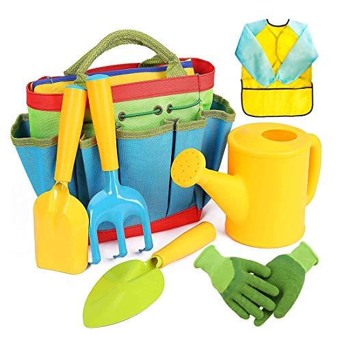 DRAKE18 Garten-Set für Kinder, 7PCS Anbau- und Pflanzset mit Handschuhen, Schürze, Aufbewahrun gstasche & Pflanzwerkzeuge, für Kinder Jungen Mädchen