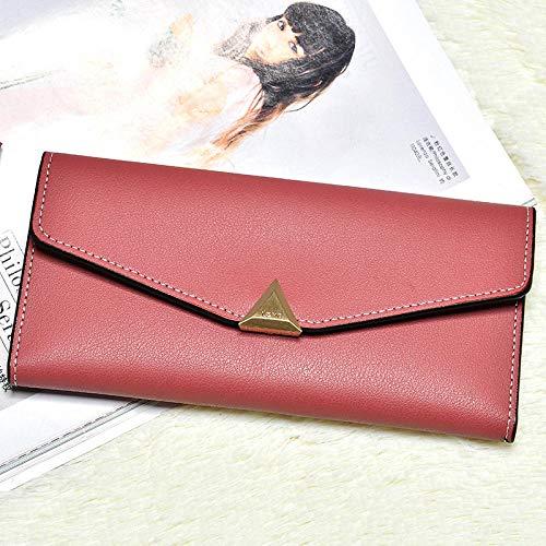 Cartera de tres pliegues para mujer, cuero de PU, moda europea y americana, gran capacidad, bolsillo con múltiples tarjetas, sobre, cartera, embrague, rosa