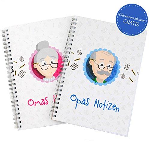 MyOma Geschenk werdende Großeltern - Notizbuch Oma + Notizbuch Opa - GRATIS Glückwunschkarten DU BIST OMA und DU BIST Opa – Geschenk Geburt – Geschenke für werdende Opas und Omas – Geschenkideen