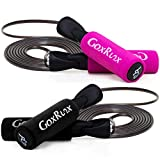 2 Pack Jump Rope Steel Wire Adjustable Jump Ropes with Anti-Slip Handles for Workout Fitness Exercise,Skipping Rope Speed Rope Crossfit for Kids, Women, Men All Heights and Skill Levels (Black+Pink)