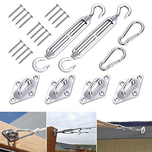 Kit d'installation Ounona 8pièces pour voile d'ombrage solaire triangulaire ou rectangulaire avec vis de 20,3cm