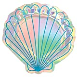 amscan Scallop Shell Cutout Iridescent Paper Plates - 8pc, Multi-colored, One Size