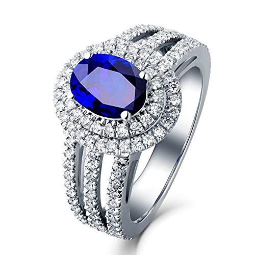 AueDsa Anillo Azul Anillos Mujer Oro Blanco 18K Oval Zafiro Azul Blanco 1.37ct Anillo Talla 9,5