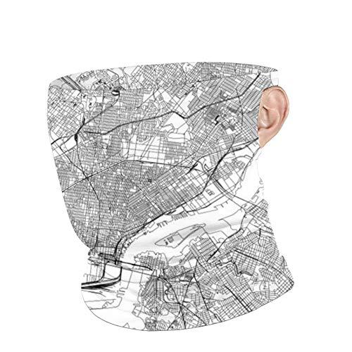 xilou Philadelphia White Map Unisex Atmungsaktive Neck Gaiter Face Cover Maske Ohrschlaufen Bandana Sturmhaube Schal für Outdoor Schutz
