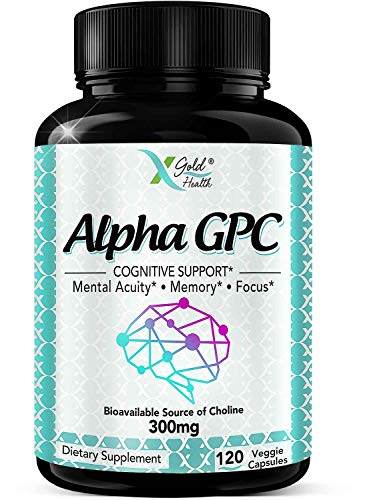 Alpha GPC Choline Supplement 300mg, 120 Veggie Capsules, Cognitive Enhancer Nootropic, Supports Memory & Brain Function, Boosts Focus & Mood, Highly Bioavailable Source of Choline