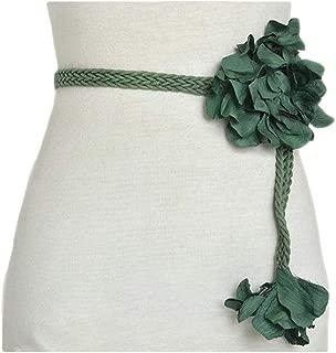 Flower Wax Rope Braided Waist Chain Women's New Braided Belt (Color : Green, Size : 100-135CM)