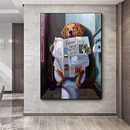 fdgdfgd Gracioso Perro Leyendo Papel higiénico Lindos Grabados y Carteles Que decoran Arte Mural nórdico