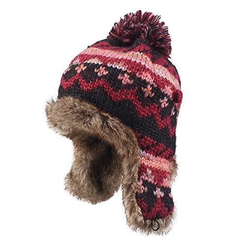 Herbst und Winter Wollmütze weiblicher Hut Plus Samt Earmuffs warme Mütze Mischfarbe Haarkugel Strickmütze Neri Samt-Uhr-Hut und Rammhaube jugendlich Junge Winterrodel Kappe