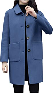 Women's Winter Coats Lapel Single Breasted Long Wool Blend Coat with Pocket Overcoat