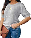 Foshow Womens Spring Puff Short Sleeve Sweaters Crew Neck Pullover Tops Dot Loose Lightweight Knit Blouse Shirt Gray