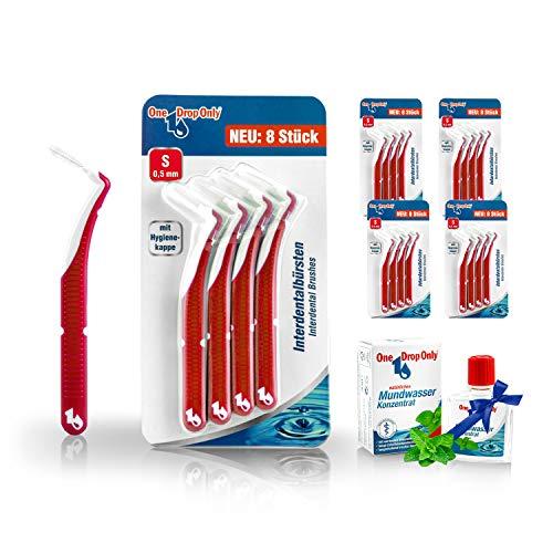 One Drop Only Interdentalbürsten, Bürsten in Größe S / 0,5mm für die gründliche Reinigung der Zahnzwischenräume, 5x8er-Sets plus Mundwasser Konzentrat