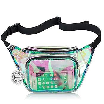 Shiny Neon Fanny Bag for Women Rave Festival Hologram Bum Travel Waist Pack  Clear Iridescent